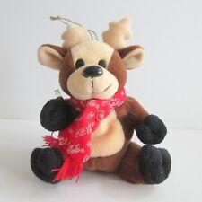 Coca-Cola Bean Bag Plush Reindeer Bear hanging ornament 1998 Holding Coke Bottle