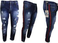 Jeans da uomo strappati con strappi modello slim fit a cavallo basso fasce lato