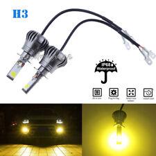 2x Ultra H3 COB LED Fog Light Bulb 2-Mode Flash Bright 4300K Yellow High Power