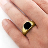10k Solid Yellow Gold Mens Classic Ring with Natural Black Onyx Gemstone All Sz