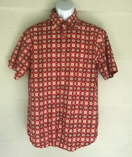 Mondo di Marco Shirt Mens Size Large L Red Orange White Plaid Button Front SS