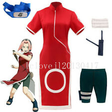 Cosplay Anime Haruno Sakura Costume Dress Shorts Outfit Full Set Suit Halloween