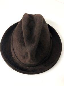 Paul Smith Fur Felt Brown Fedora Hat Medium Made In Italy