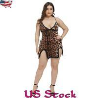Plus Size Women Lingerie Underwear Leopard Dress Nightdress Nightgown Sleepwear