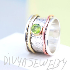 Solid 925 Sterling Silver Spinner Ring Statement Ring Size Peridote Stone s22