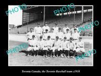 OLD LARGE HISTORIC PHOTO OF TORONTO CANADA, THE TORONTO BASEBALL TEAM 1910