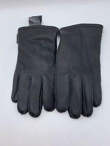 Barbour Men's Black Bexley Touchscreen Compatible Leather Gloves Sz Large NWOT