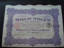 ACTION FRANCE  MINES DE MATRACAL ETAT DE  DURANGO MEXIQUE 1926 PARIS
