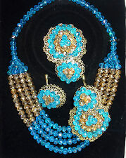 Powder Blue & Gold Wedding Party Beads Necklace Set
