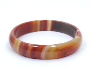 "VINTAGE CARNELIAN Stone Agate  Bangle Bracelet 8 1/4"" Circumference"