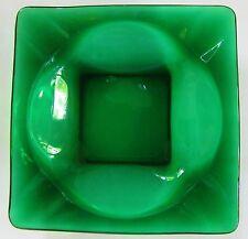 "Vintage Dark Green Glass Square Ashtray 4 5/8"" x 4 5/8"" - VERY NICE!"