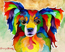 Papillon 8X10 Dog Colorful Print from Artist Sherry Shipley