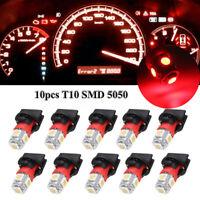 10X Red T10 SMD 194 LED Bulbs For Instrument Gauge Cluster Dash Lights W/ Socket