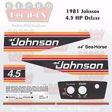 1981 Johnson 4.5HP Deluxe Sea-Horse Outboard Reproduction 10 Piece Vinyl Decals