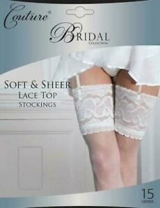Ladies Bridal Collection Ivory Soft & Sheer Lace Top Wedding Stockings BNIP