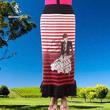 SHARON TANG Modest Apparel Long Striped Knit Multi-Color Ruffle Skirt M