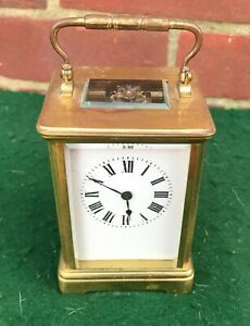 ANTIQUE FRENCH BRASS CARRIAGE /MANTEL CLOCK WORKING