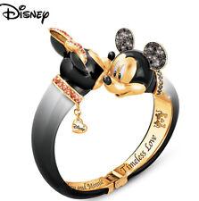"Disney ""Timeless Love"" Mickey & Minnie Mouse Crystal Bangle Bracelet NEW In BOX"