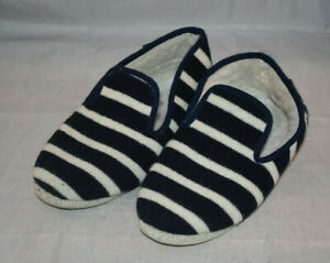 Armor Lux Men's Size 10 Navy Blue & White Striped Wool Slippers No Box