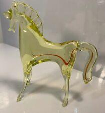 "Vintage Cenedese Murano Uranium Vaseline Art Glass Horse Ultra Rare 4 1/2"""