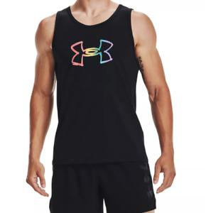 Under Armour Tank Top Mens Large UA Pride Rainbow Logo Loose Fit Black Authentic