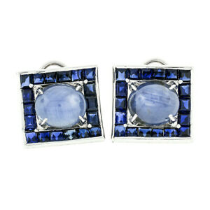 Vintage Platinum 18.78ctw GIA Oval Cabochon & Square Blue Star Sapphire Earrings