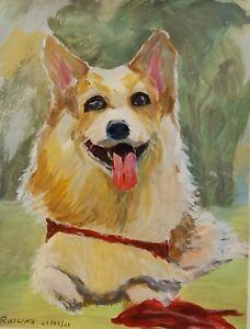 Original art work gouache painting Portrait  of Corgi