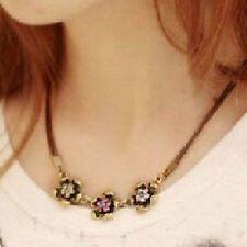 Vintage Halskette Retro 3 Blüten Blumen Kette Tracht Halsband Trachtenschmuck