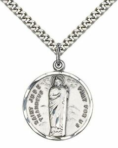 """St. Jude Pendant St. 24"""" Stainless Silver Heavy Curb Chain"""