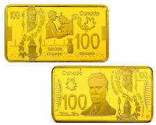 ★ MAGNIFIQUE MEDAILLE PLAQUéE OR ● CANADA ● BILLET 100 DOLLARS  ★