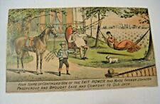 ANTIQUE TAIT WIRE CHECK ROWER ADVERTISING VICTORIAN TRADE CARD ~ VERY C@@L ~