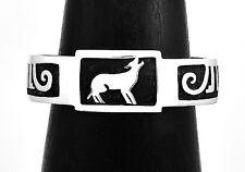 Silver Southwestern Spirit Wolf Cuff Bracelet Taxco Mexico