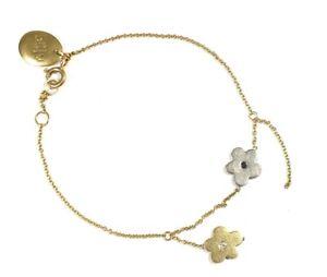 BIIJU .750 18ct GOLD Flower White & Black 0.035ct DIAMOND Bracelet, 5.32g - W58