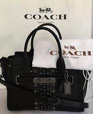 COACH 56831 Bandana Rivets Swagger 27 Glovetanned Leather DK/Black NWT