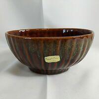Haeger Floral Oval Ribbed Planter 4020 Drip Glaze Brown Green USA Pottery VTG