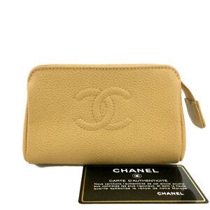 CHANEL CC Logo Beige Caviar Skin Mini Cosmetics Pouch /B2130