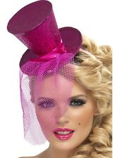 Mini Pink Top Hat Mad Hatter Costume Flapper Feather Womens Adult Fancy Dress