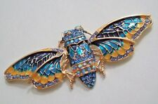 BIG HUGE EGYPTIAN DECO STYLE BLUE CICADA MOTH BUTTERFLY PIN RHINESTONES BROOCH