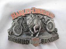 1998 Harley Davidson - Room Wild  Run Free - Buffalo Baron Pewter Belt Buckle