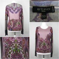 ETRO Silk & Cashmere Jumper  UK  Size 18 IT 50 Pinks Purples Grey Floral Paisley
