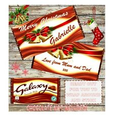 Personalised Christmas Chocolate Wrapper For Galaxy 114g **Stocking Filler**