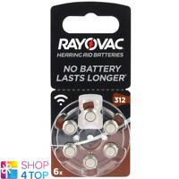 6 RAYOVAC ACOUSTIC SPECIAL SIZE 312 MF PR41 HEARING AID BATTERIES 1.45V ZINC AIR