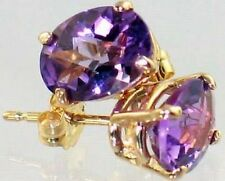 Amethyst, 14KY Gold Post Earrings, E002