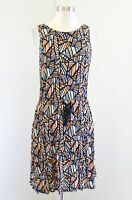 Lucky Brand Mosaic Geometric Print Drawstring Sleeveless Dress Sz M Orange Blue