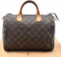 Authentic Louis Vuitton Monogram Speedy 30 Hand Bag M41526 LV A5177