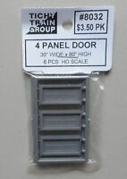 6 FOUR PANEL DOOR w FRAME HO 1:87 SCALE LAYOUT DIORAMA TICHY TRAINS 8032