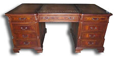 Flame Mahogany Partner Desk with Leather Top