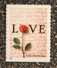 2000USA  #3496  34c Love - Red Rose & Love Letter - Single From Booklet  Mint NH
