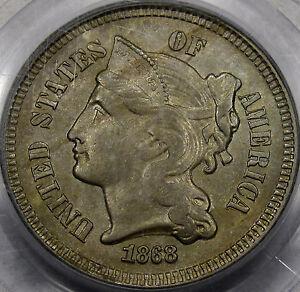 1868 Nickel Three Cent Piece  PCGS GEM BU MS-64... Choice Original Coin, NICE!!!