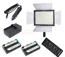 YN600 LED Video Light +2x NP-F550 battery more power than YN300 for Canon Nikon